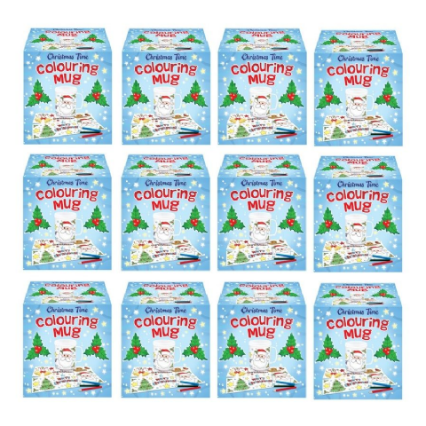 12 x Christmas Time Colouring Mugs - Colour Your Own Arts & Crafts - Wholesale Bulk Buy